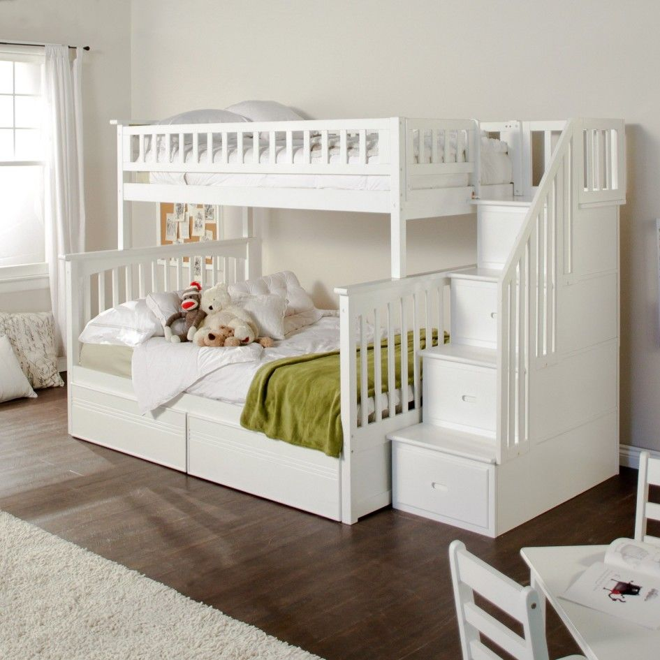 Bedroom, White Wooden Twin Over Full Size Queen Bunk Bed And Stair Storage  On Dark