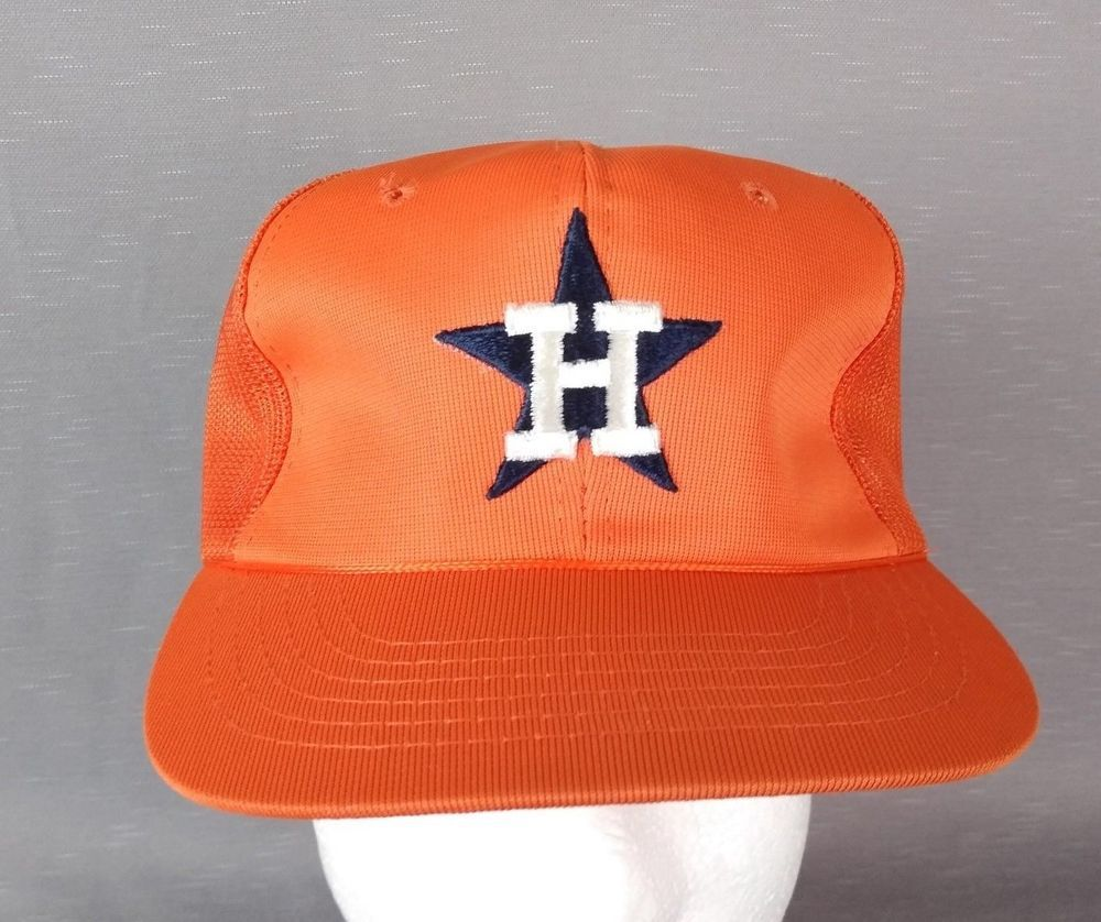 7999219e Houston Astros Ball Cap. Snapback is secure. Orange hat with embroidered H  in white and Star in dark blue. Made in Korea. | eBay!