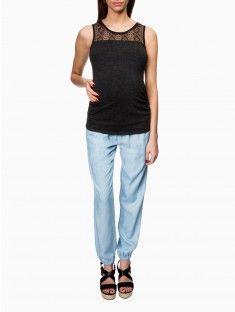 Pantalon fluide de grossesse denim MATERNITE   Valise de Maternité ... 3dcc370e4dca