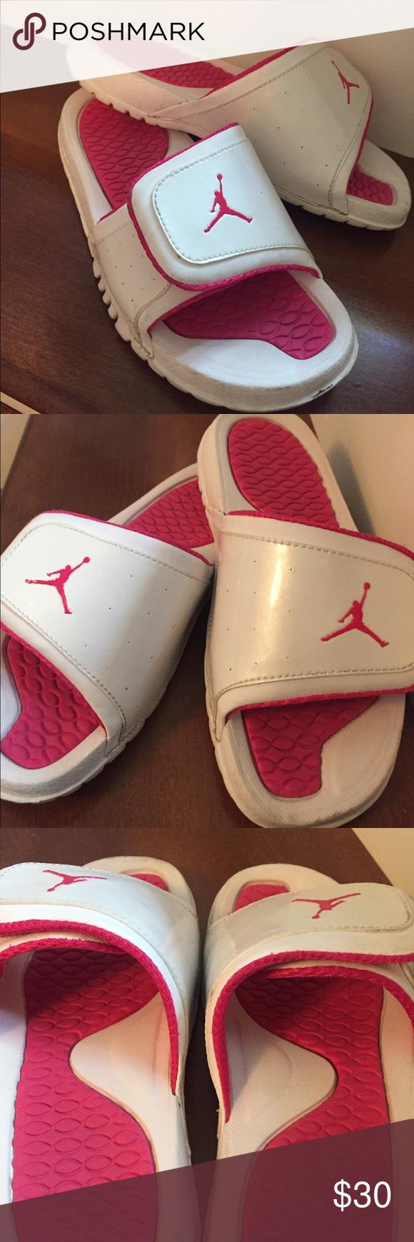 d90800d2ff742 Girls pink and white Jordan Slides In perfect condition! Hardly worn! Jordan  Shoes Sandals   Flip Flops