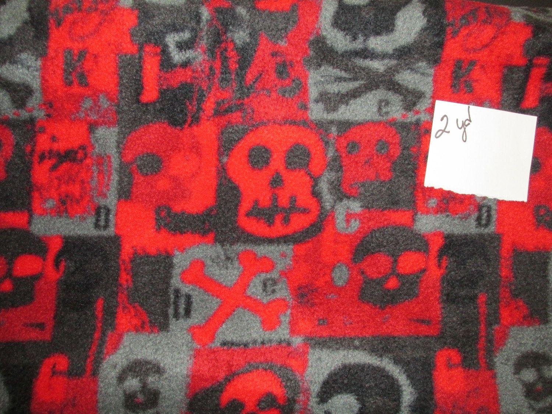 Red u black skull polar fleece by craftyredesigns on etsy fleece