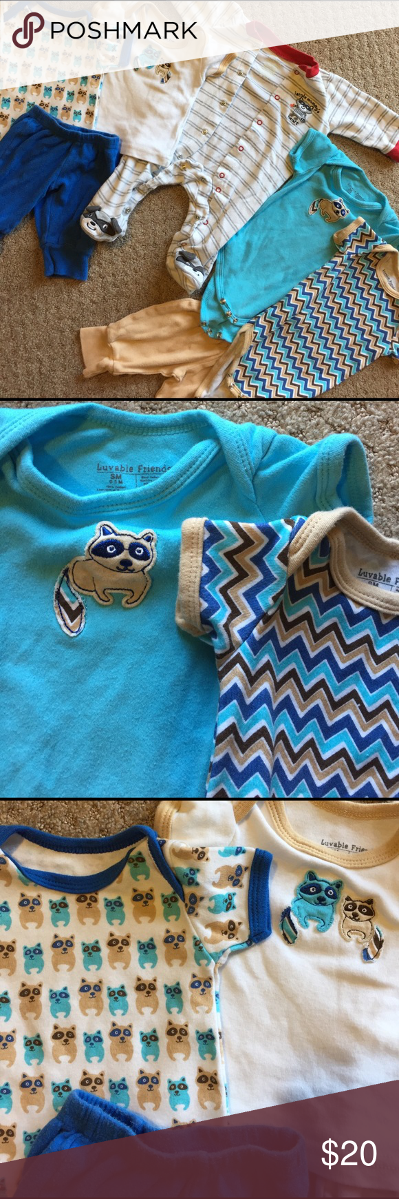 Blue raccoon onesie in excellent condition! Blue raccoon onesie in excellent condition! See matching chevron onesie, raccoon shirt with tan trim, raccoon shirt with blue trim, blue sweatpants and tan sweatpants if interested! Luvable Friends Shirts & Tops Tees - Short Sleeve