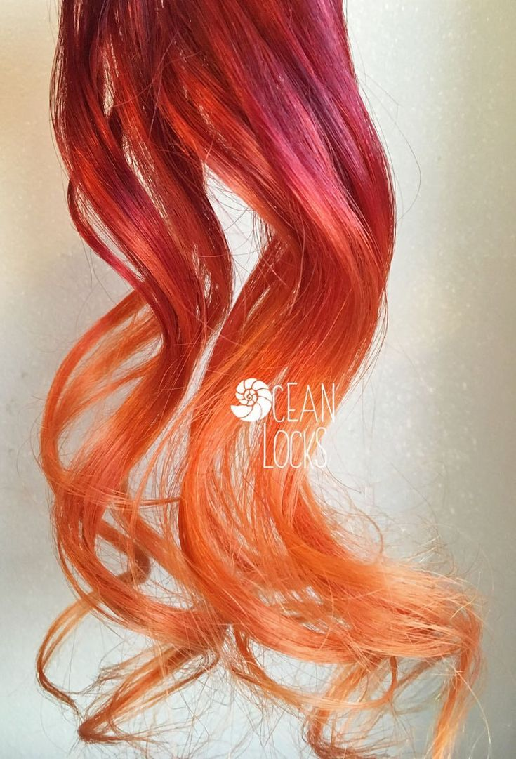 Red Hair Extensions, Hair extensions clip in, Ombre hair extensions, Orange Hair, Mermaid Hair, Ombr -