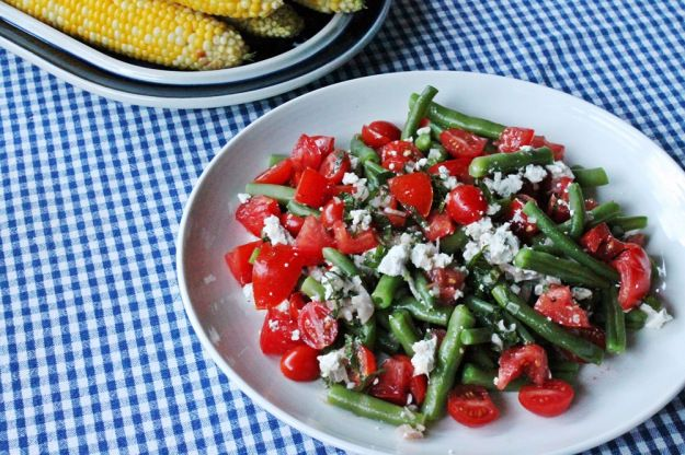 Green Beans and Tomatoes with a Mint-Shallot Dressing and Goat Cheese