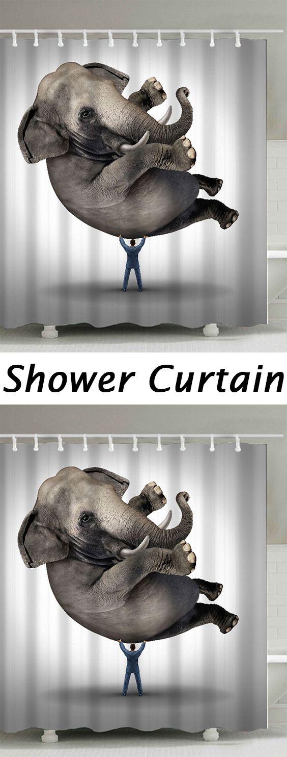 elephant animal waterproof polyester shower curtain