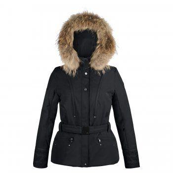 70cbb41fc7 Poivre Blanc Womens Belted Short Ski Jacket in Black