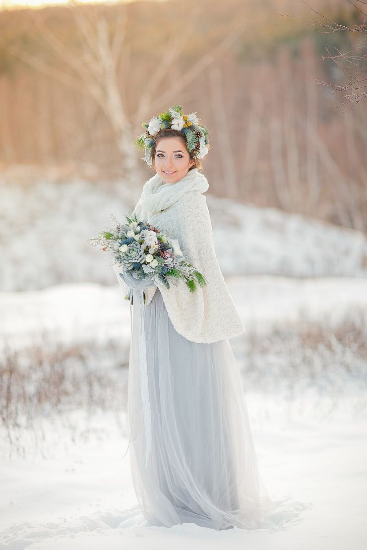 Light blue wedding dress muted grays and blues for an outdoor