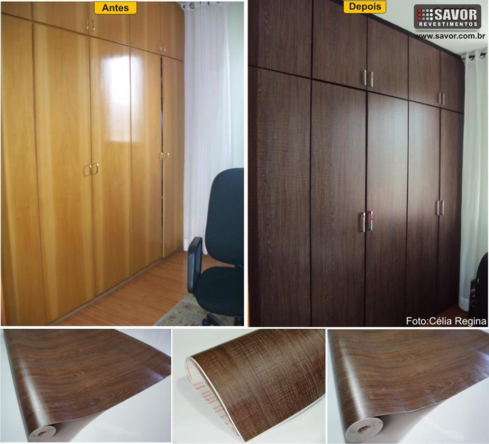 Artesanato Love ~ DCFIX Carvalho Marrom aplicado no armário Revestimento decofix palha dourada Revestimento em