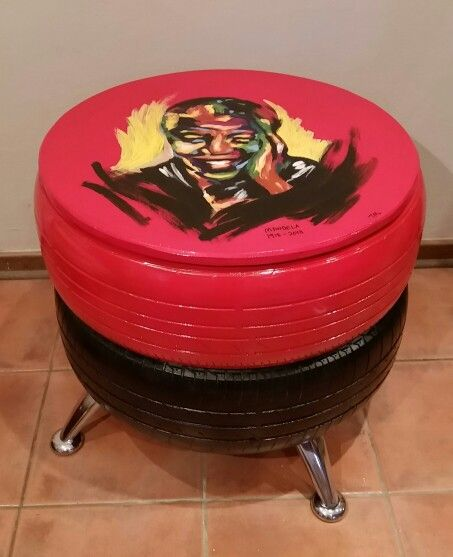 Mandela inspired double tyre coffee table made from old used tyres