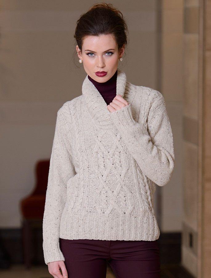 ea97b223fa2 Wool Cashmere Aran Shawl Neck Sweater in 2019 | Aran Sweaters ...