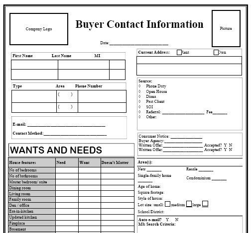 Buyer Contact Form  Black  Real Estate Forms  Realtor Forms