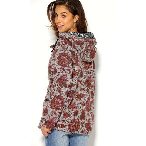 manteau en laine capuche et sequins imprim femme. Black Bedroom Furniture Sets. Home Design Ideas