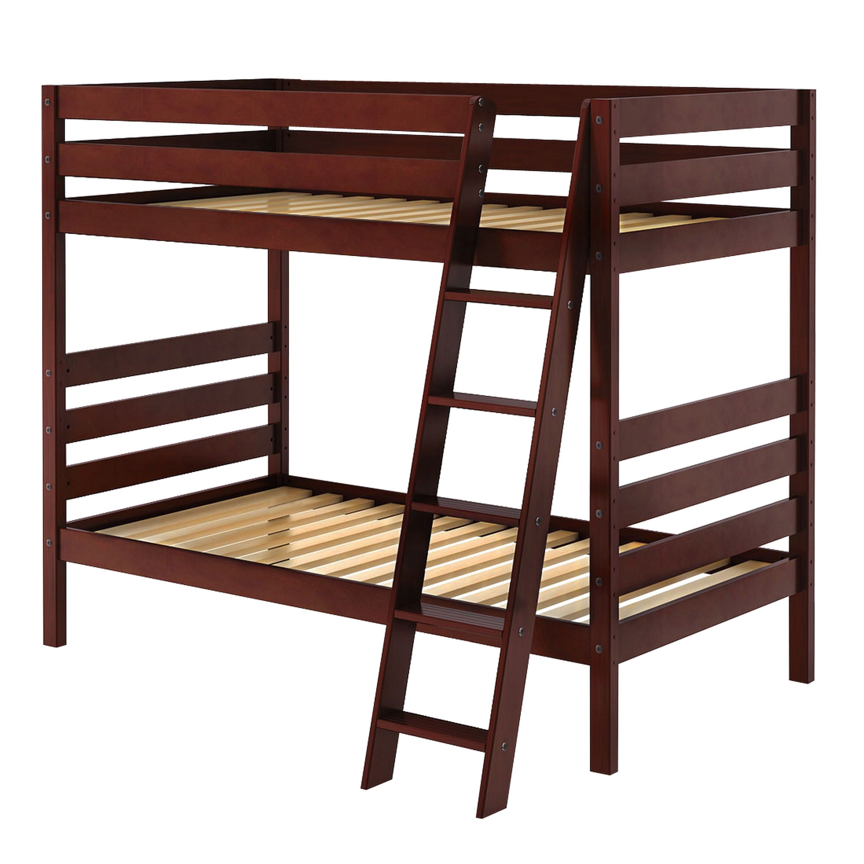 Jackpot double up bunk bed with angle ladder cherry wood finish