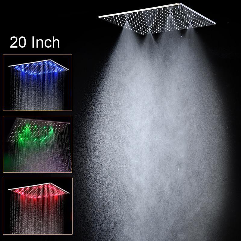 Luxury Ceiling Square Showerhead 20 Inch Led Rainfall Shower