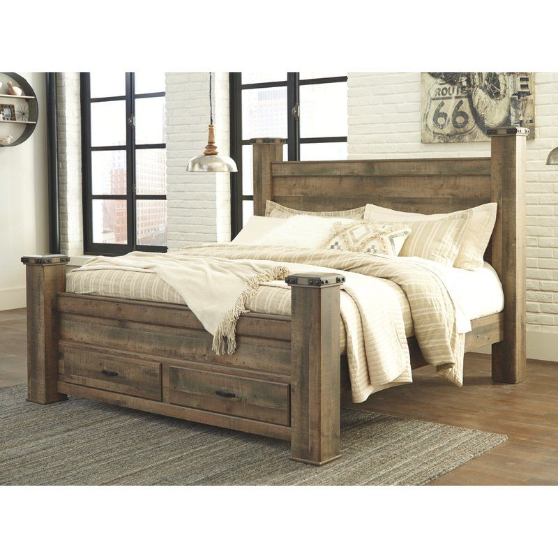 Trinell Storage Platform Bed With Images King Poster Bed