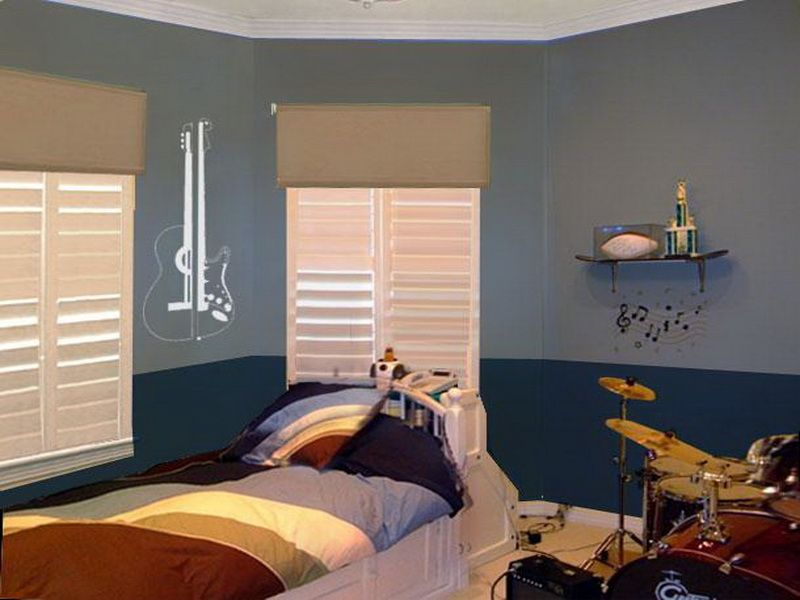 Calming teen boy bedroom paint bedroom cool room ideas - Cool room painting ideas ...
