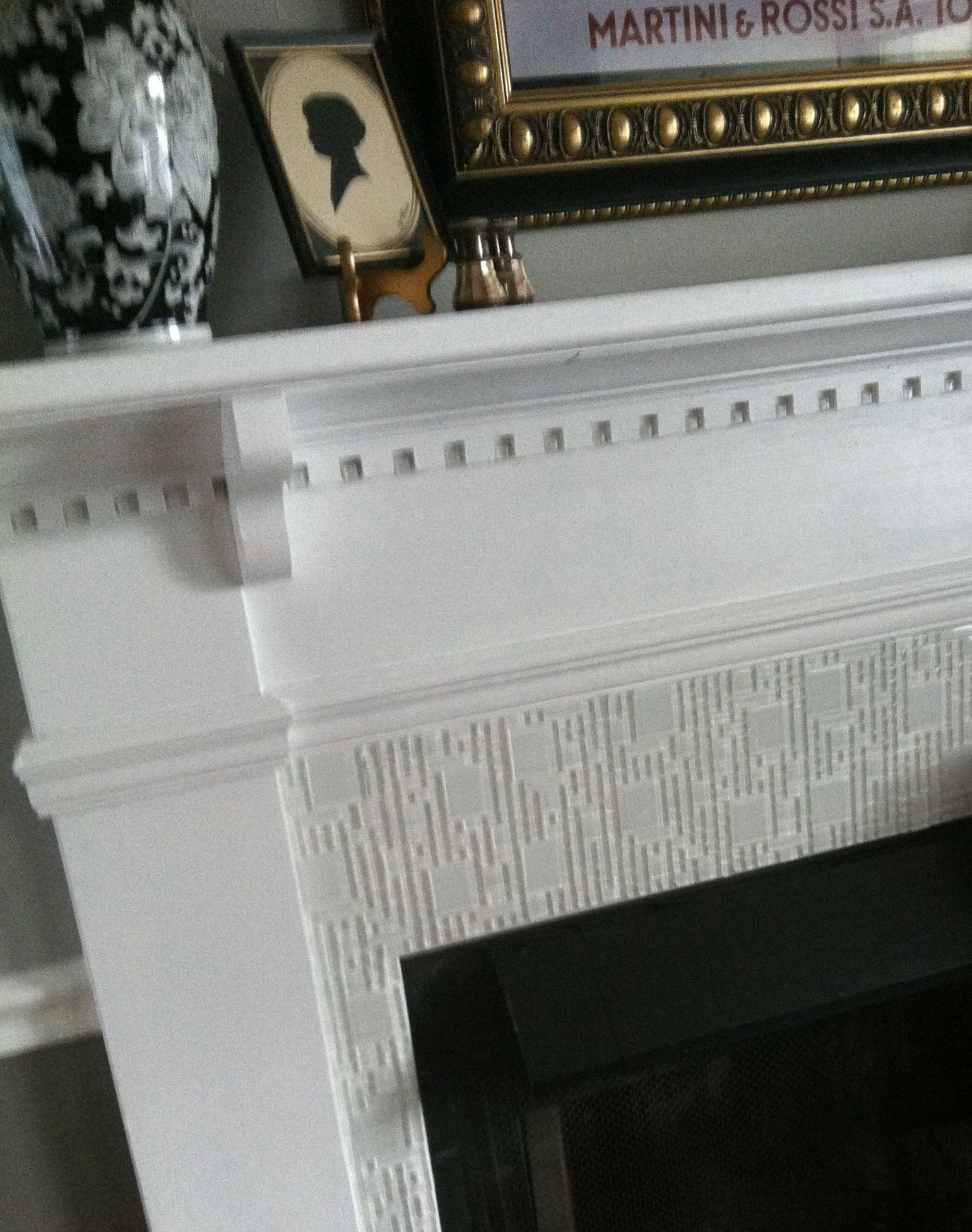 my cure for a boring fireplace was as simple as 12x12 glass tile