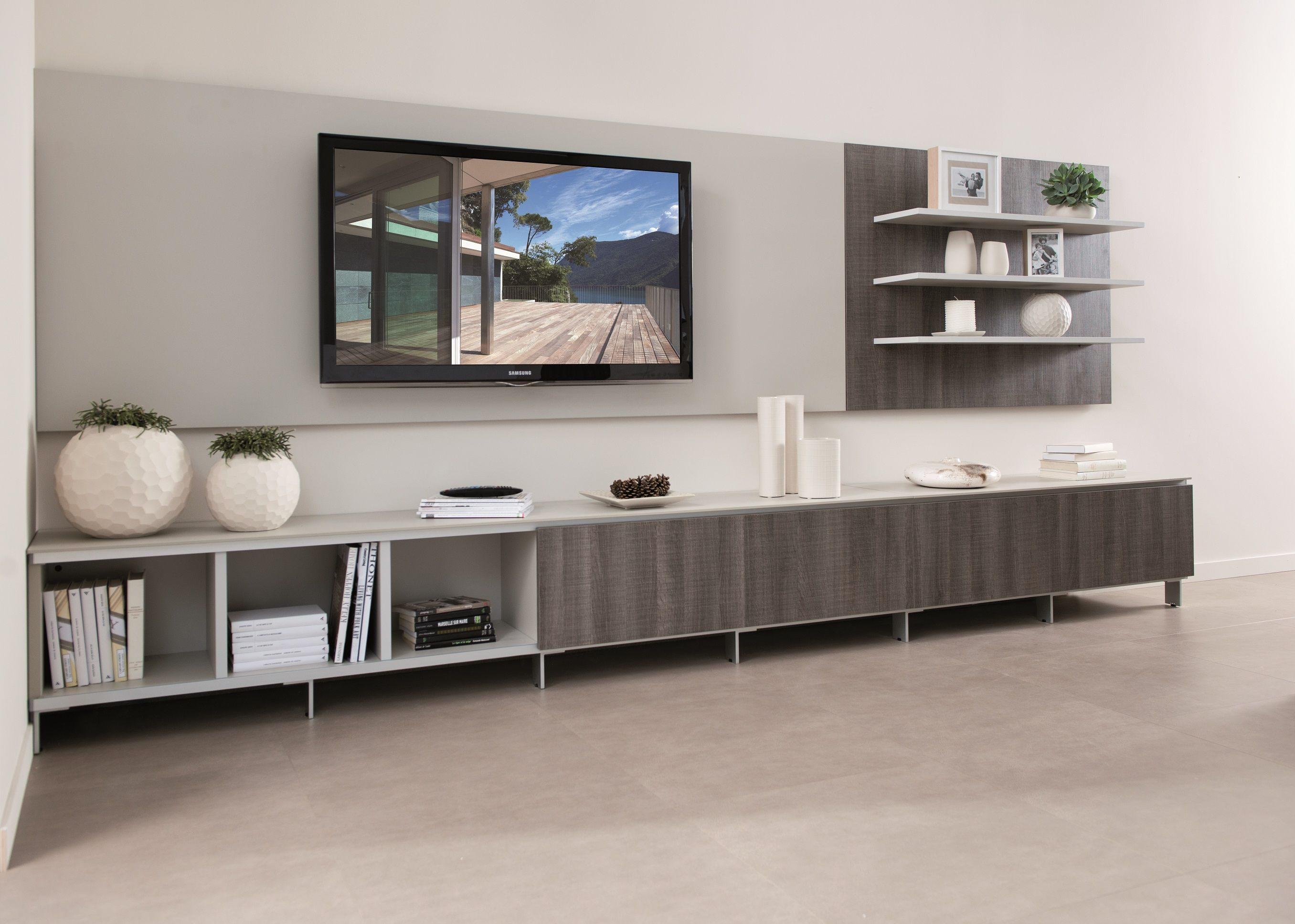 Best Tv Composition Composition With Light Grey Carcase And Oak 400 x 300