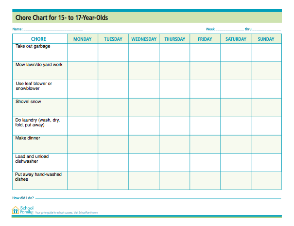 chore chart for teens 15 17 years old free download from schoolfamilycom