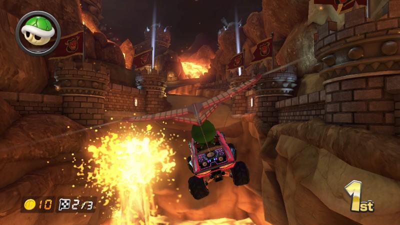 Gliding In Bowser S Castle Mario Kart Bowser Mario Kart 8