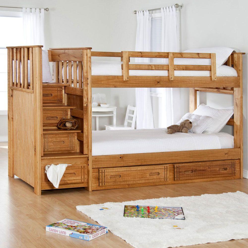 Boys' twin loft bed with storage steps  BunkBedsDesignIdeas  Childrenus bedroom  playroom with