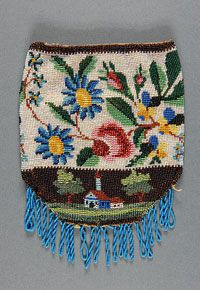 Woman's Bag Made in United States 1838 Artist/maker unknown, American Silk plain weave with beads; plain weave cotton lining 7 x 5 1/4 inches (17.8 x 13.3 cm)