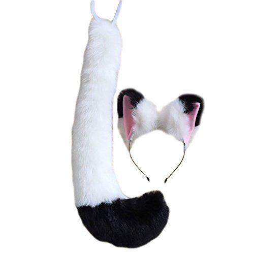 Women Cat Cosplay Set Ears Headband Tail Set Halloween Xmas Cosplay Costume