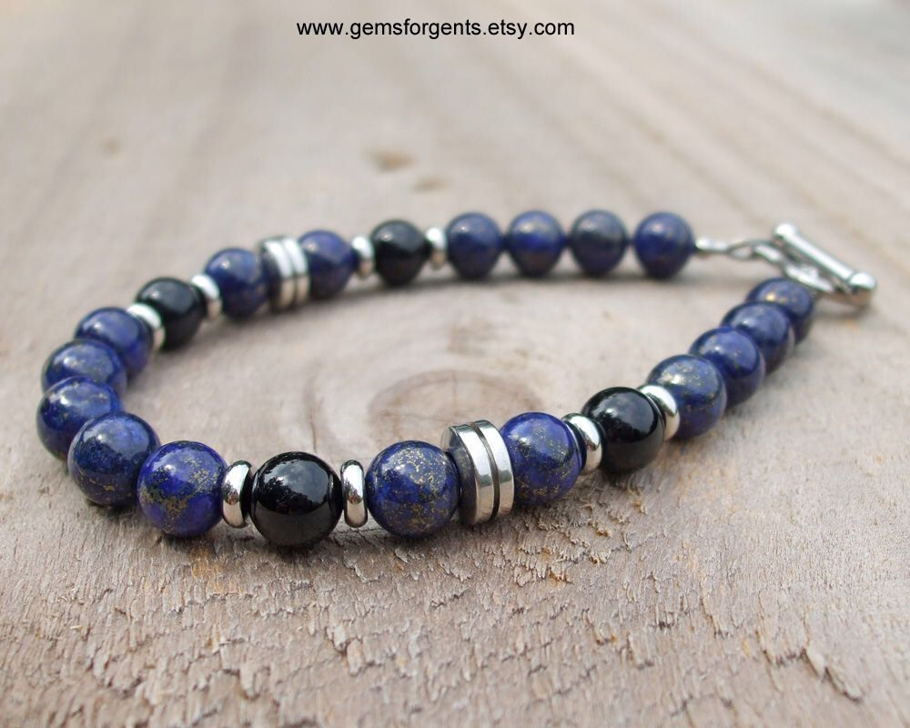 Blue Lapis Lazuli and Black Onyx Mens Beaded Bracelet Mens Jewelry