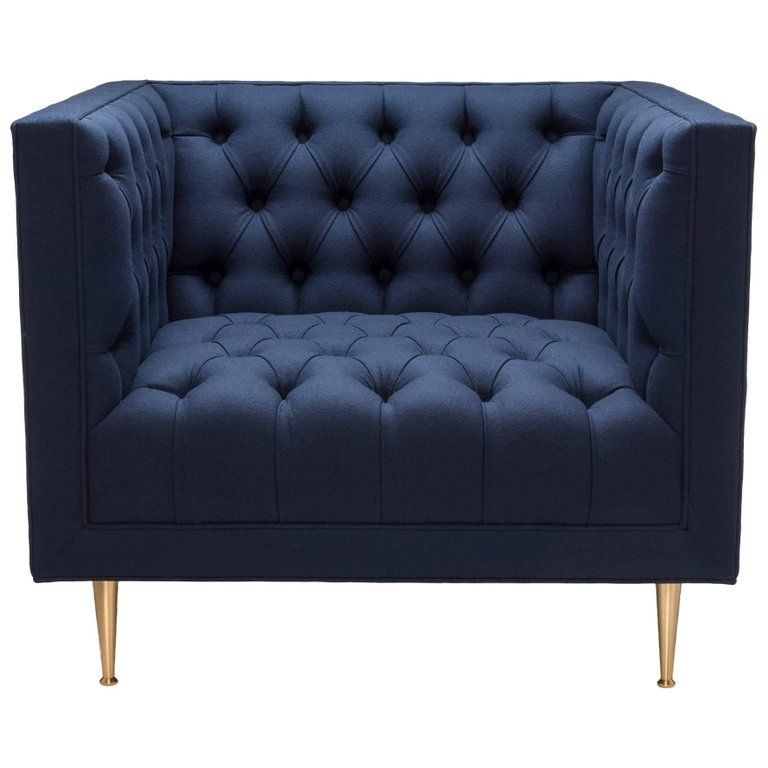 Contemporary Tux Chair Special Edition In Navy Melton Wool With