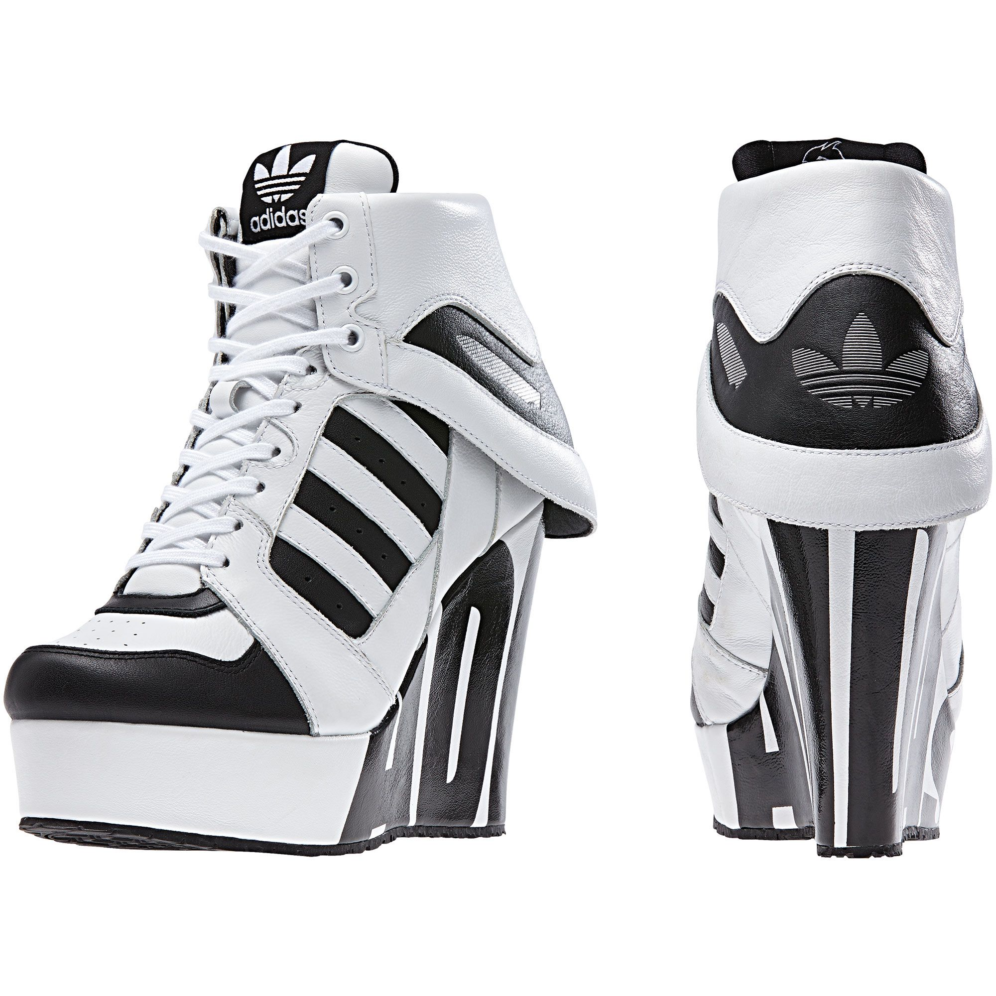 timeless design 955f1 42fa4 Jeremy Scott's modern update to the adidas Streetball shoe, they get a wedge  heel for a strong statement and fold-over collar for ...