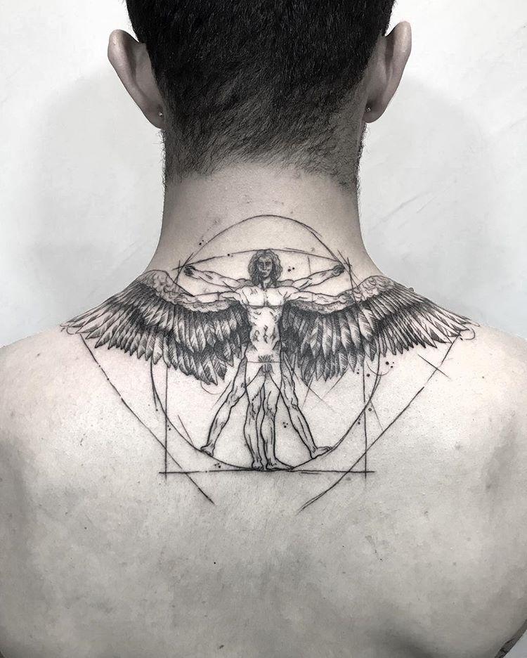 Una Version Del Hombre De Vitruvio Blackwork Blackworkersmexico Blackworkershero Blackworkerssubmission Fin Tattoos Vitruvian Man Tattoo Body Art Tattoos