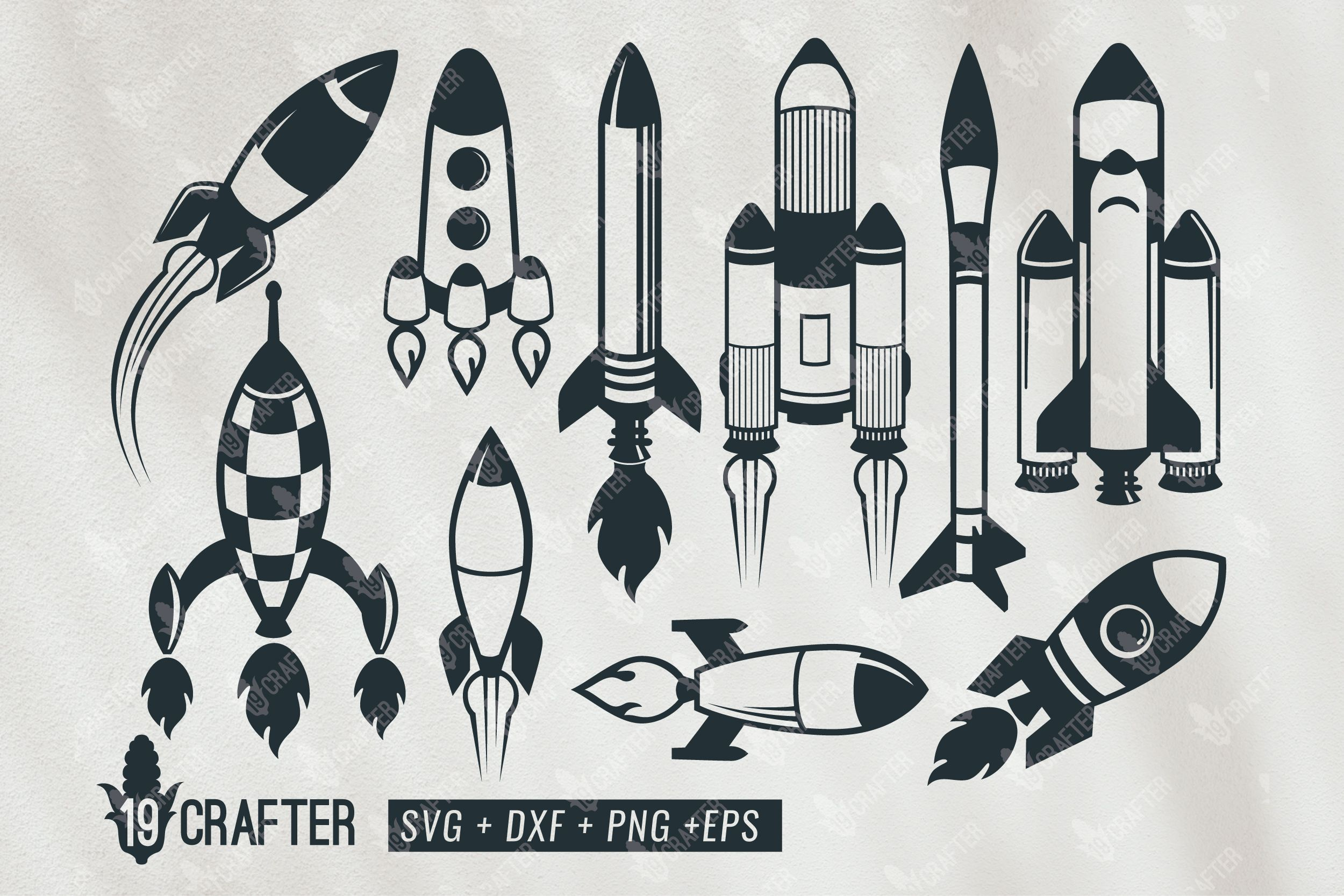 Rocket Space Craft Bundle Graphic By Great19 Creative Fabrica