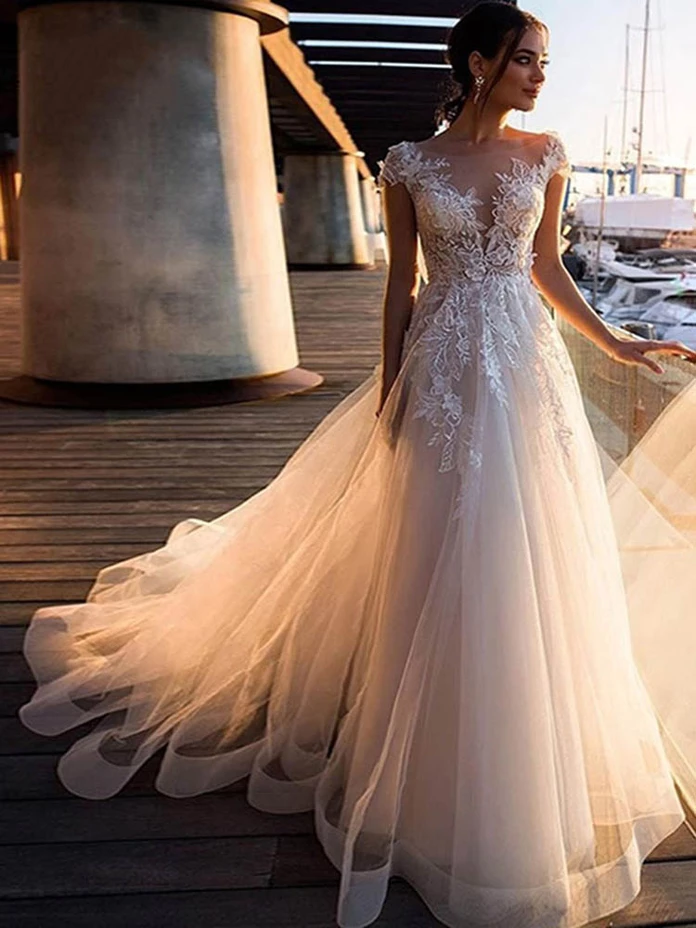 O-Neck Appliques Lace A-Line Wedding Dresses – Ideas for my girls