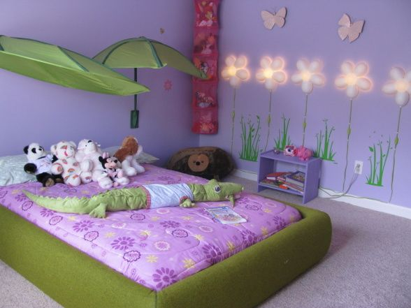 Great Our 4 Year Old Girls Room   She Loves Purple, We Incorporated A Lot Of The  Outdoors As Well As A Padded Bed Frame, Girls Rooms Design