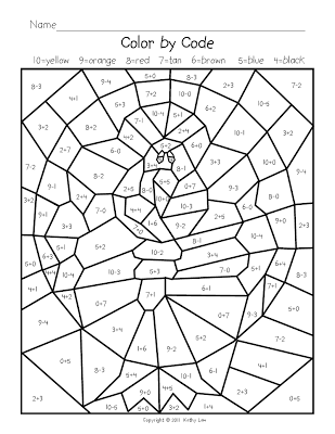 Free color by number pages for addition facts within 20 ...