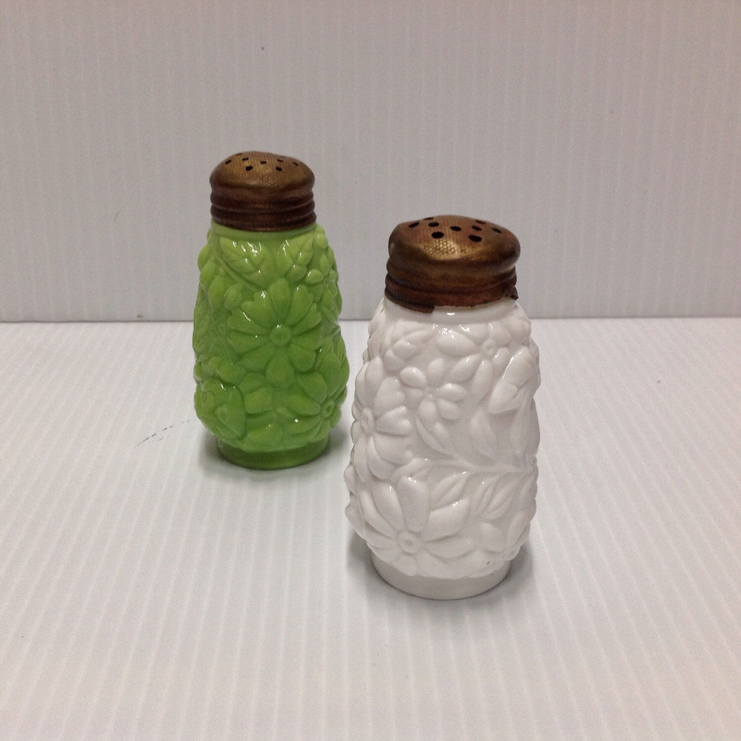 Vintage Salt & Pepper Shakers Milk Glass With Brass Shabby Chic ...