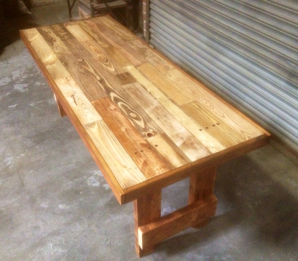 6 Pallet Wood Dining Room Table With Reclaimed Roof Rafter Legs Reclaimed Oak Floor For Wood Dining Room Table Reclaimed Oak Flooring Dining Room Furnishings
