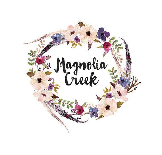 wreath logo design watercolor wreath floral wreath