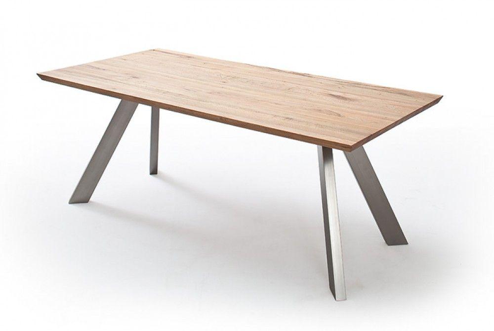 Esstisch Eiche Tischplatte, Tisch Massiv-Eiche, Tisch Gestell Metall - esstische aus massivholz ideen
