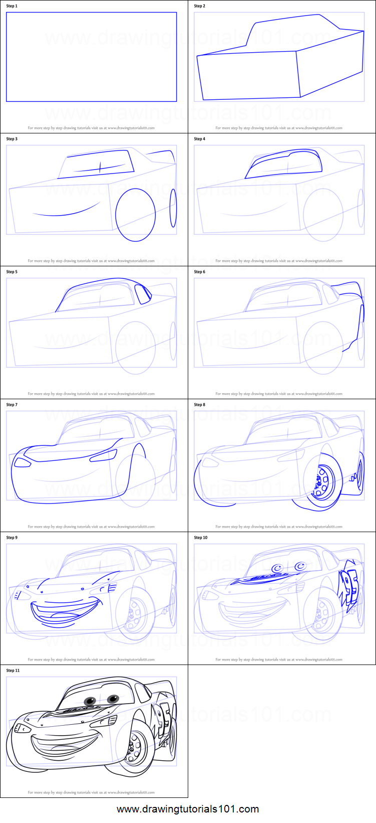 How to Draw Lightning McQueen from Cars 6 Printable Drawing Sheet