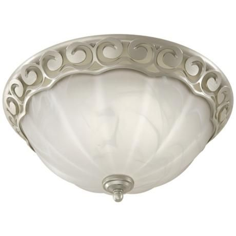 Decorative Scroll Brushed Nickel Bathroom Fan With Light | LampsPlus.com