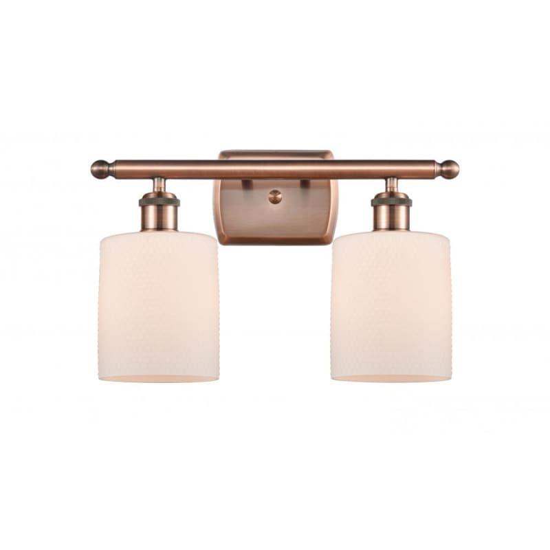 "Photo of Innovations lighting 516-2W Cobbleskill Cobbleskill 2 Light 16 ""Wide Vanity Ligh Antique copper / matt white Interior lighting bathroom fittings Vanity"
