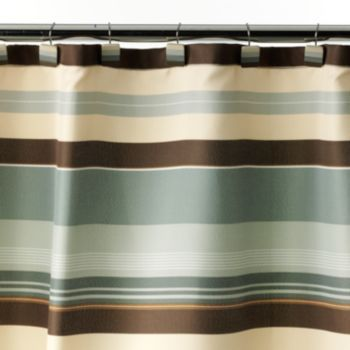 Madison Striped Fabric Shower Curtain Fabric Shower Curtains