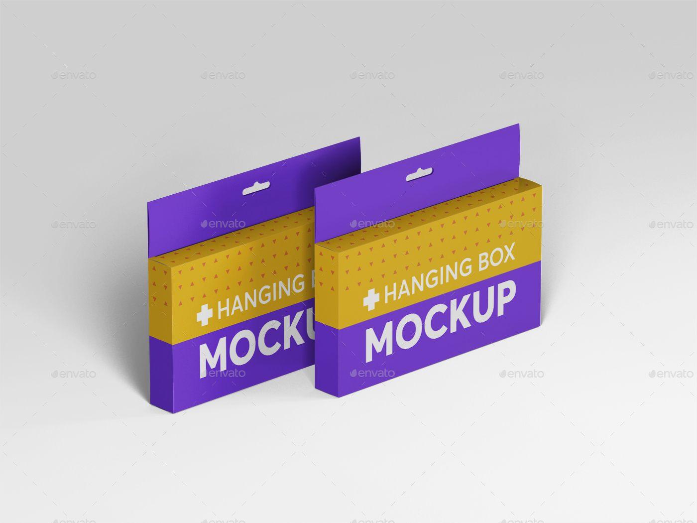 Download Hanging Wide Rectangle Box Mockups Box Mockup Box Packaging Design Hanging