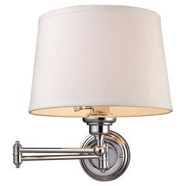"opening up space on nightstands while keeping gentle lighting for night time reading   Product: Wall  sconce Material: Metal and fabric Color: Polished chrome and white Features:  Sleek design will light up any setting Accommodates: (1) 150 Watt 3-Way bulb - not included Dimensions: 14.5"" H x 12"" W x 25"" D"