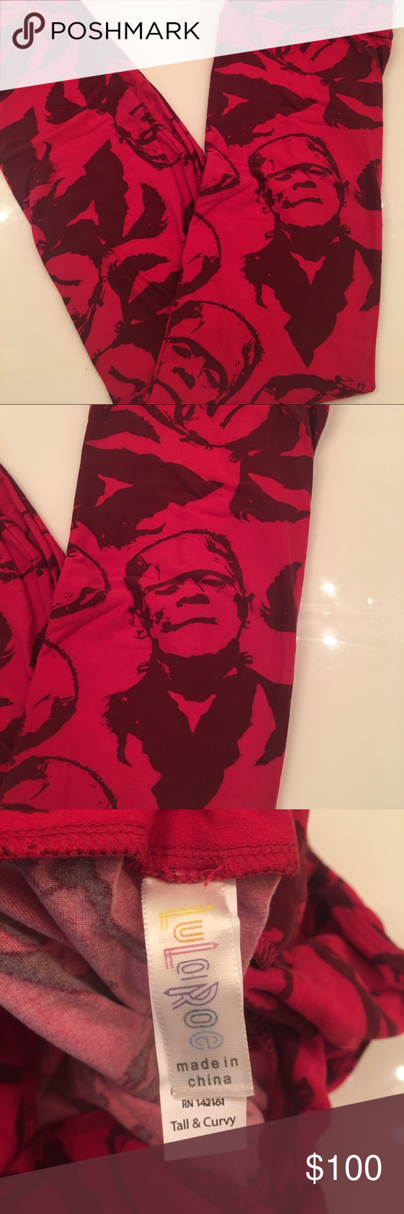LuLaRoe TC leggings Halloween Frankenstein red Rare print a total unicorn  offers are welcome but 25 is not a reasonable offer if you can buy from a consultant please do LuLaRoe Pants Leggings