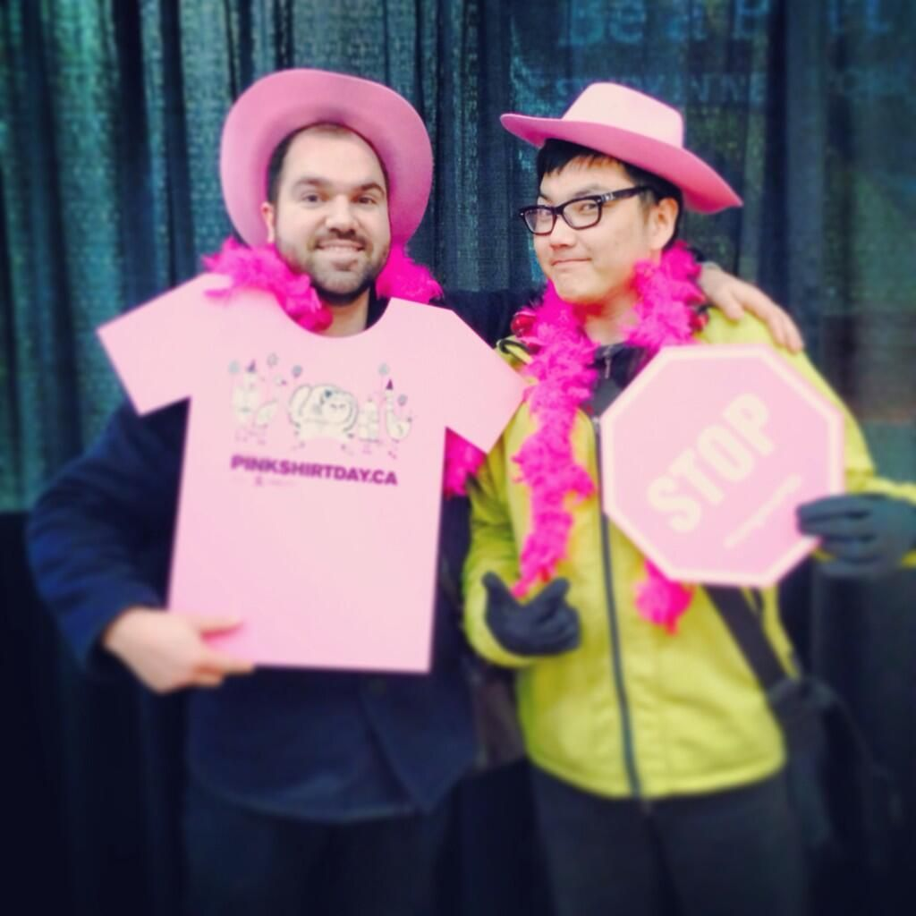 "Looking good! #pinkshirtday ""@nickeagland: Not bullies. #langarapsd @Langara College pic.twitter.com/B56kDUB5Iq"""