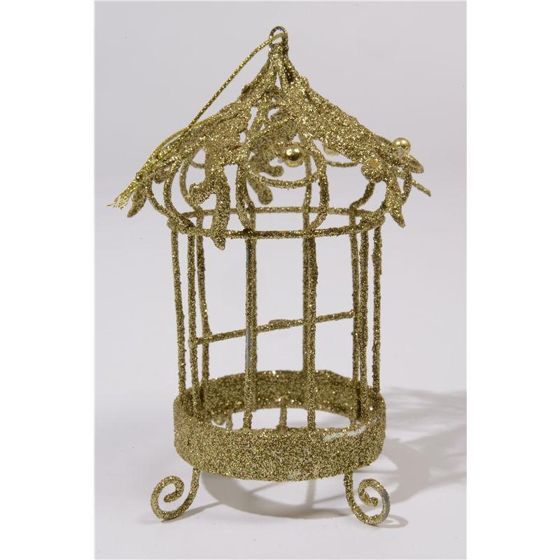 Kersthanger Vogelkooi met gouden glitters