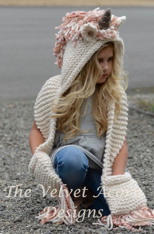 Knitting Pattern For Unicorn Hooded Scarf With Pockets Ad Sizes