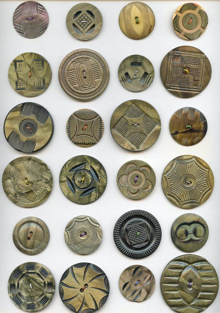 24 large celluloid wafer antique buttons